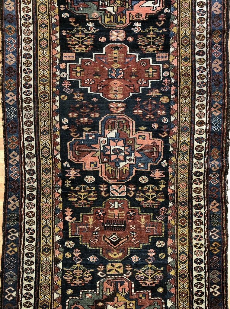 "Perfect Persian - 1900s Antique Kurdish Rug - Tribal Runner - 3'9"" x 12' ft."
