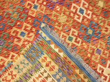 "Load image into Gallery viewer, Crisp Colorful - New Kilim Rug - Flatweave Tribal Carpet - 8'4"" x 11'8"" ft."