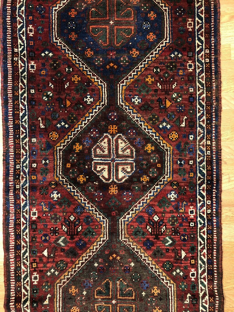 "Beautiful Bakhtiari - 1940s Antique Persian Rug -Tribal Runner - 2'9"" x 9'7"" ft."