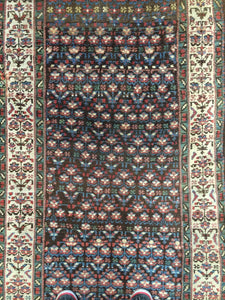 "Tremendous Tribal - 1900s Antique Kurdish Runner - Persian Rug - 3'2"" x 13'4"" ft."