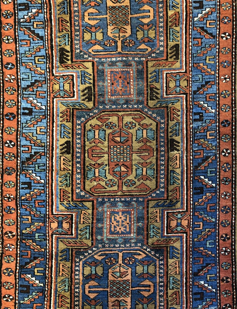 "Perfect Persian - 1910s Antique Kurdish Rug - Tribal Runner - 3'6"" x 14'3"" ft."