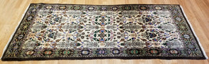"Handsome Hereke - 1920s Antique Turkish Rug - Floral Design - 3'2"" x 7'1"" ft."