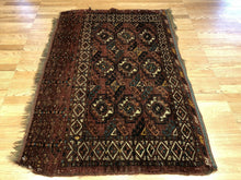 "Load image into Gallery viewer, Tremendous Turkmen - 1930s Tekke Gul Bokhara Rug - Tribal Carpet - 3'2"" x 4'6"" ft"