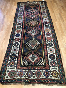 "Tremendous Talish - 1880s Antique Caucasian Rug - Tribal Runner - 3'8"" x 9'3"" ft."