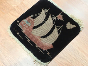 "Natural Nichols - 1920s Antique Chinese Rug - Art Deco Square Boat - 1'1"" x 1'1"" ft"