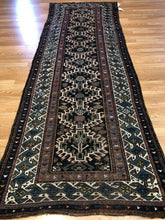 "Load image into Gallery viewer, Nice Nasrabad - 1900s Antique Kurdish Runner - Persian Rug - 3'5"" x 9'4"" ft."