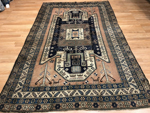 "Astounding Ardebil - 1940s Antique Caucasian Rug - Tribal Carpet - 5'4"" x 8'7"" ft."