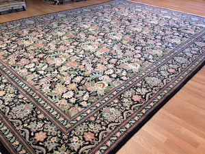 "Black Bessarabian - English Garden Design - Noo Noo Pakistani Carpet 10'2"" x 14'4"" ft."