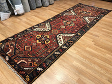 "Load image into Gallery viewer, Handsome Hamadan - 1930s Antique Persian Rug - Tribal Runner - 3'6"" x 9'10"" ft."