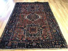 "Load image into Gallery viewer, Handsome Heriz - 1930s Antique Karaja Rug - Tribal Carpet - 4'4"" x 6'3"" ft."