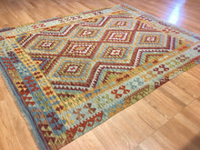 "Load image into Gallery viewer, Crisp Colorful - New Kilim Rug - Flatweave Tribal Carpet - 6' x 7'9"" ft."