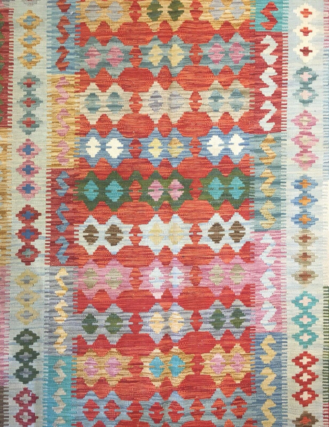 Crisp Colorful - New Kilim Rug - Flatweave Tribal Carpet - 5'1