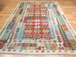 "Crisp Colorful - New Kilim Rug - Flatweave Tribal Carpet - 5'1"" x 8'1"" ft."