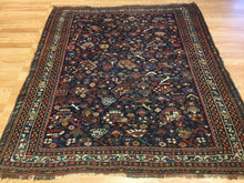 "Load image into Gallery viewer, Quality Qashqai  - 1890s Antique Shiraz Rug - Tribal Carpet - 4'4"" x 5'1"" ft."