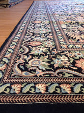 "Load image into Gallery viewer, Black Bessarabian - English Garden Design - Noo Noo Pakistani Carpet 10'2"" x 14'4"" ft."