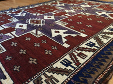 "Load image into Gallery viewer, Classic Caucasian - 1960s Antique Turkish Kars Rug - Tribal Carpet - 5' x 7'2"" ft."