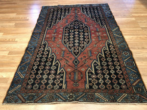 "Majestic Mazleghan - 1940s Antique Persian Rug - Tribal Carpet - 4'4"" x 6'3"" ft."