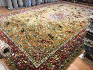 "Tremendous Tetex - 1930s Antique German Rug - Large Hunting Scene 11'6"" x 17'2"" ft."