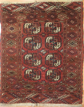 "Load image into Gallery viewer, Tremendous Turkmen - 1910s Tekke Gul Bokhara Rug - Tribal Carpet - 3'8"" x 4'6"" ft"