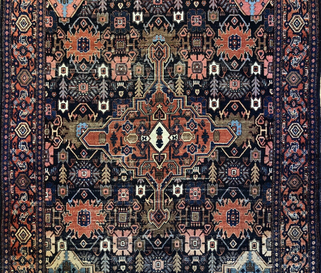 "Astonishing Abadeh - 1910s Antique Persian Rug - Tribal Carpet - 4'7"" x 6'3"" ft."