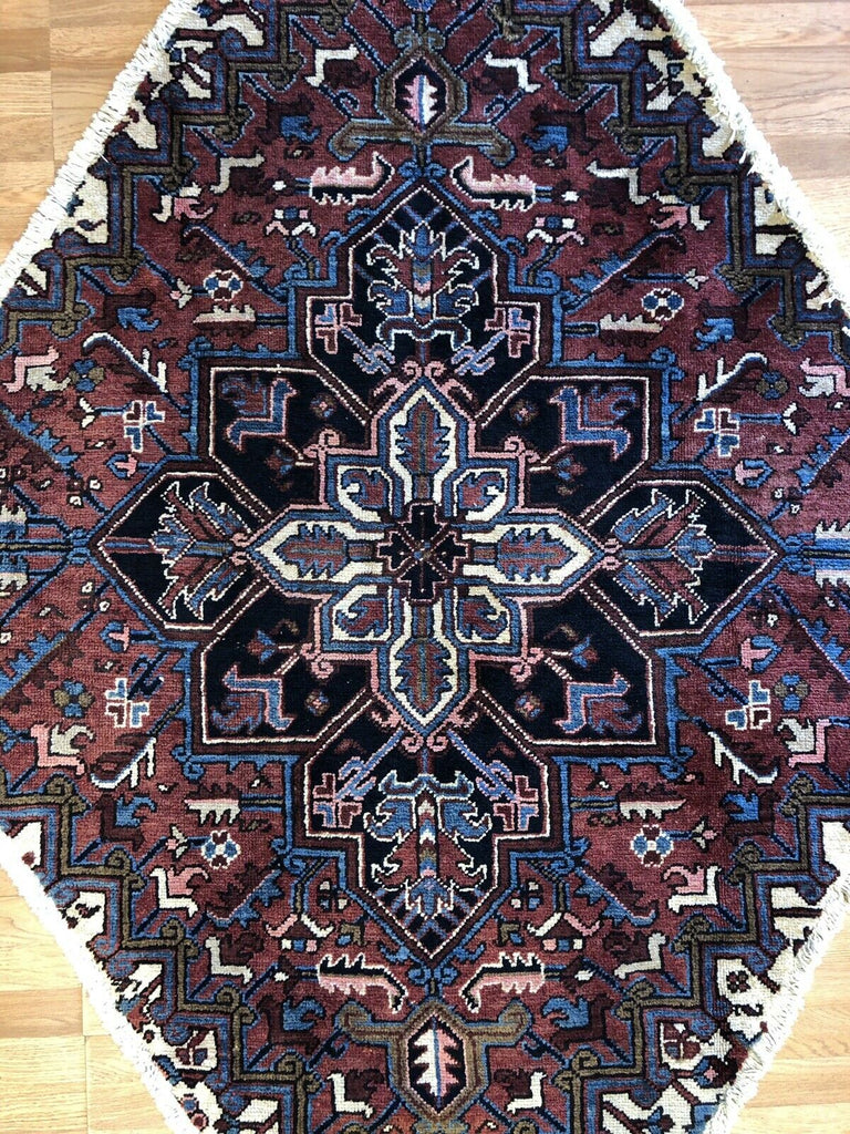 "Marvelous Medallion - 1930s Antique Heriz Rug - Tribal Carpet - 4'9"" x 6'10"" ft."