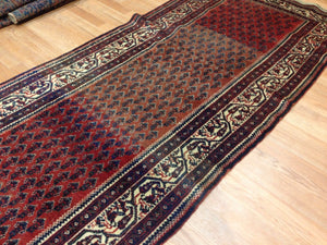 "Special Seraband - 1900s Antique Mir Rug - Tribal Runner - 3'3"" x 14'9"" ft."