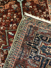 "Load image into Gallery viewer, Handsome Heriz - 1900s Antique Persian Rug - Tribal Runner - 3'4"" x 11'7"" ft."
