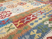 "Load image into Gallery viewer, Crisp Colorful - New Kilim Rug - Flatweave Tribal Carpet - 6'5"" x 10' ft."