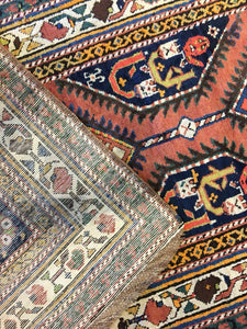 "Classic Caucasian - 1900s Antique Kazak Runner - Tribal Oriental Rug 3'9"" x 11'9"" ft"