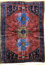 "Load image into Gallery viewer, Handsome Hamadan - 1960s Antique Persian Rug - Tribal Carpet - 3'5"" x 5' ft."