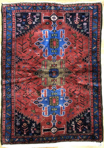 "Handsome Hamadan - 1960s Antique Persian Rug - Tribal Carpet - 3'5"" x 5' ft."