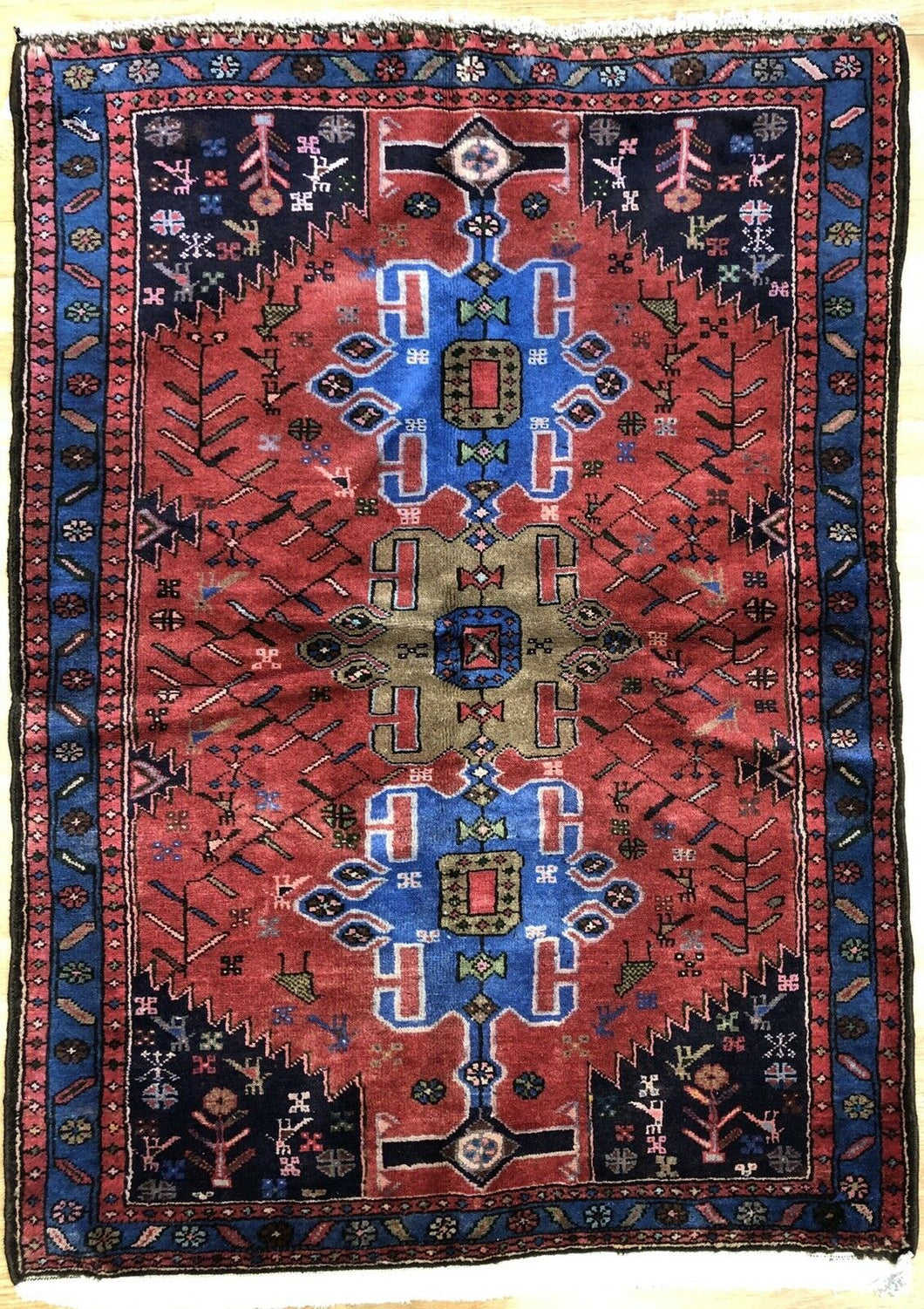 Handsome Hamadan - 1960s Antique Persian Rug - Tribal Carpet - 3'5