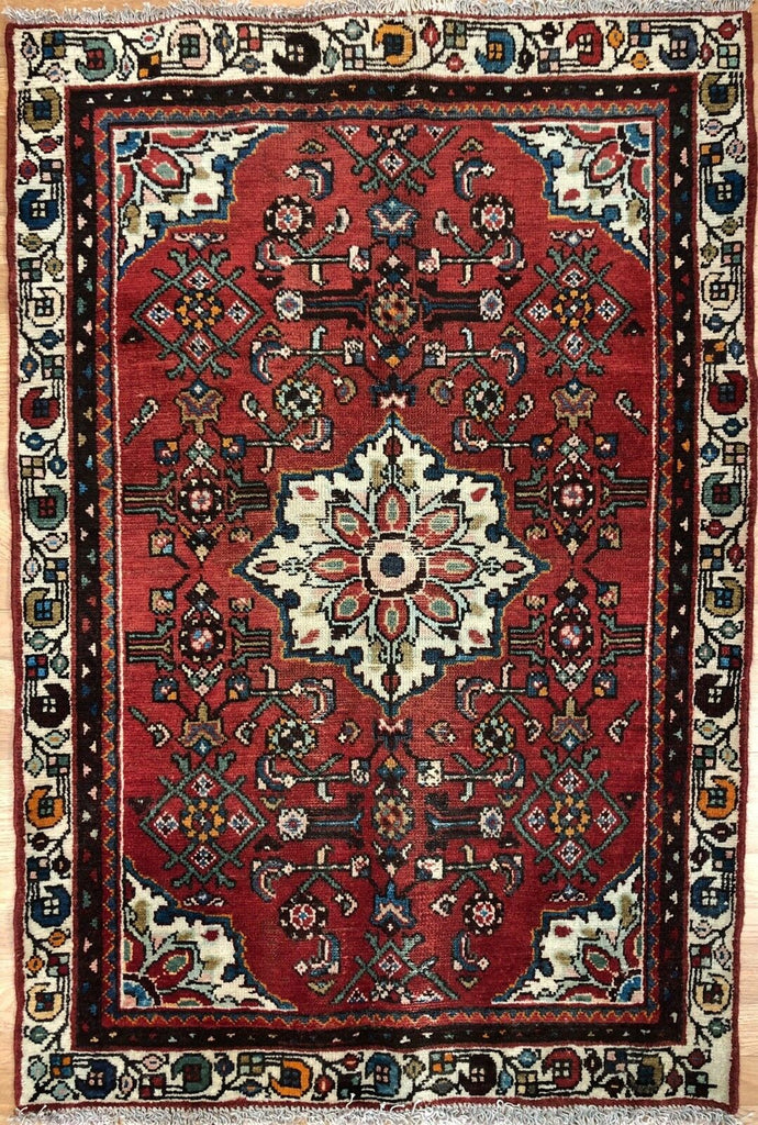 "Handsome Hamadan - 1940s Antique Persian Rug - Tribal Carpet - 3'2"" x 4'6"" ft."