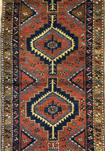 "Tremendous Tribal - 1920s Antique Kurdish Rug - Oriental Runner - 3'3"" x 10'3"" ft."