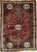 "Load image into Gallery viewer, Quality Qashqai - 1940s Antique Shiraz Rug - Tribal Carpet - 3'9"" x 5'1"" ft."