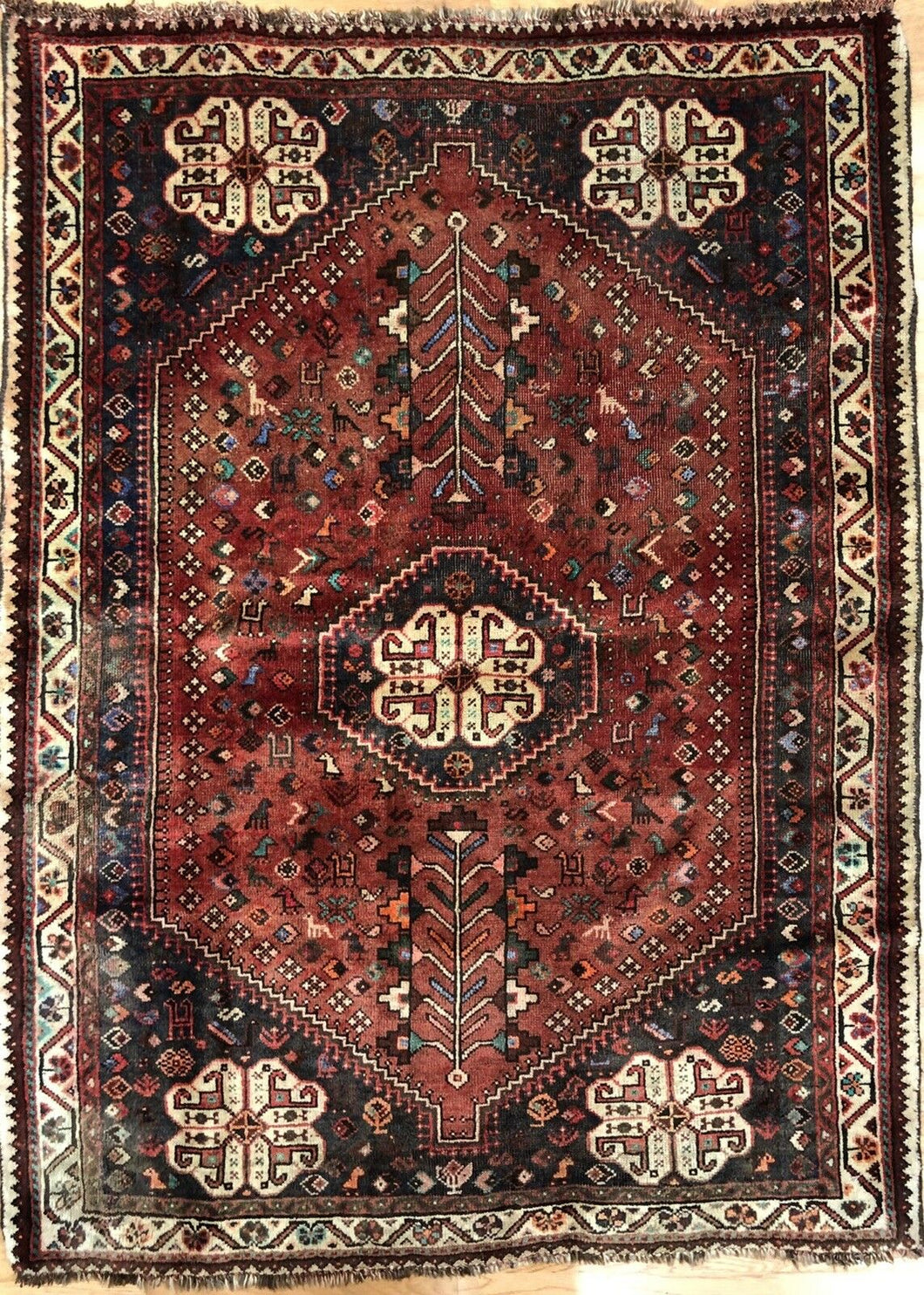 Quality Qashqai - 1940s Antique Shiraz Rug - Tribal Carpet - 3'9