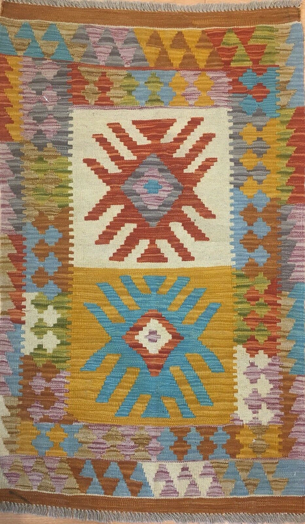 "Crisp Colorful - New Kilim Rug - Flatweave Tribal Carpet - 2'7"" x 4'2"" ft."