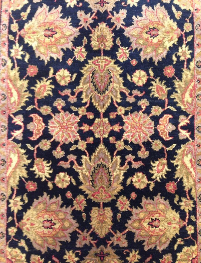 "Beautiful Black - Indian Agra - Floral Design Rug - Oriental Carpet 4'2"" x 6'3"" ft"