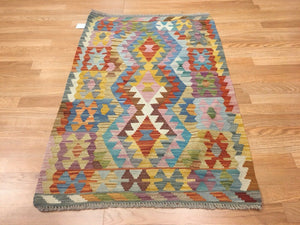 "Crisp Colorful - New Kilim Rug - Flatweave Tribal Carpet - 2'8"" x 3'11"" ft."