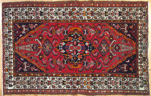 "Marvelous Mosel - 1940s Antique Malayer Rug - Tribal Carpet - 4'5"" x 6'11"" ft."