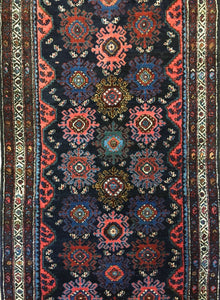 "Handsome Hamadan - 1920s Antique Persian Rug - Tribal Runner - 3'1"" x 18' ft."
