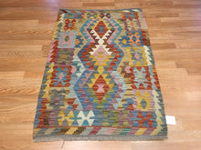 "Load image into Gallery viewer, Crisp Colorful - New Kilim Rug - Flatweave Tribal Carpet - 2'8"" x 3'11"" ft."