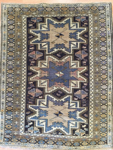"Selective Shirvan - 1900s Antique Lesghi Star - Tribal Caucasian Rug - 2'9"" x 3'7"" ft."