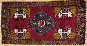 "Youthful Yastik - 1940s Antique Turkish Rug - Tribal Oriental Carpet 1'8"" x 3'2"" ft."