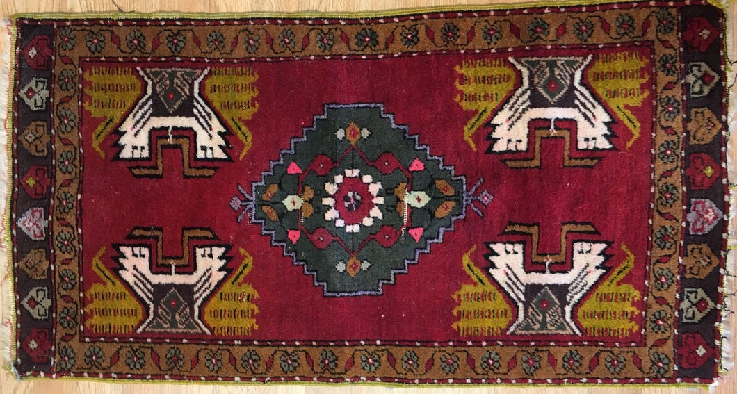 Youthful Yastik - 1940s Antique Turkish Rug - Tribal Oriental Carpet 1'8