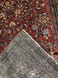 "Handsome Hamadan - 1920s Antique Persian Rug - Tribal Carpet - 4' x 6'3"" ft."