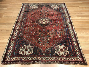 "Quality Qashqai - 1940s Antique Shiraz Rug - Tribal Carpet - 3'9"" x 5'1"" ft."