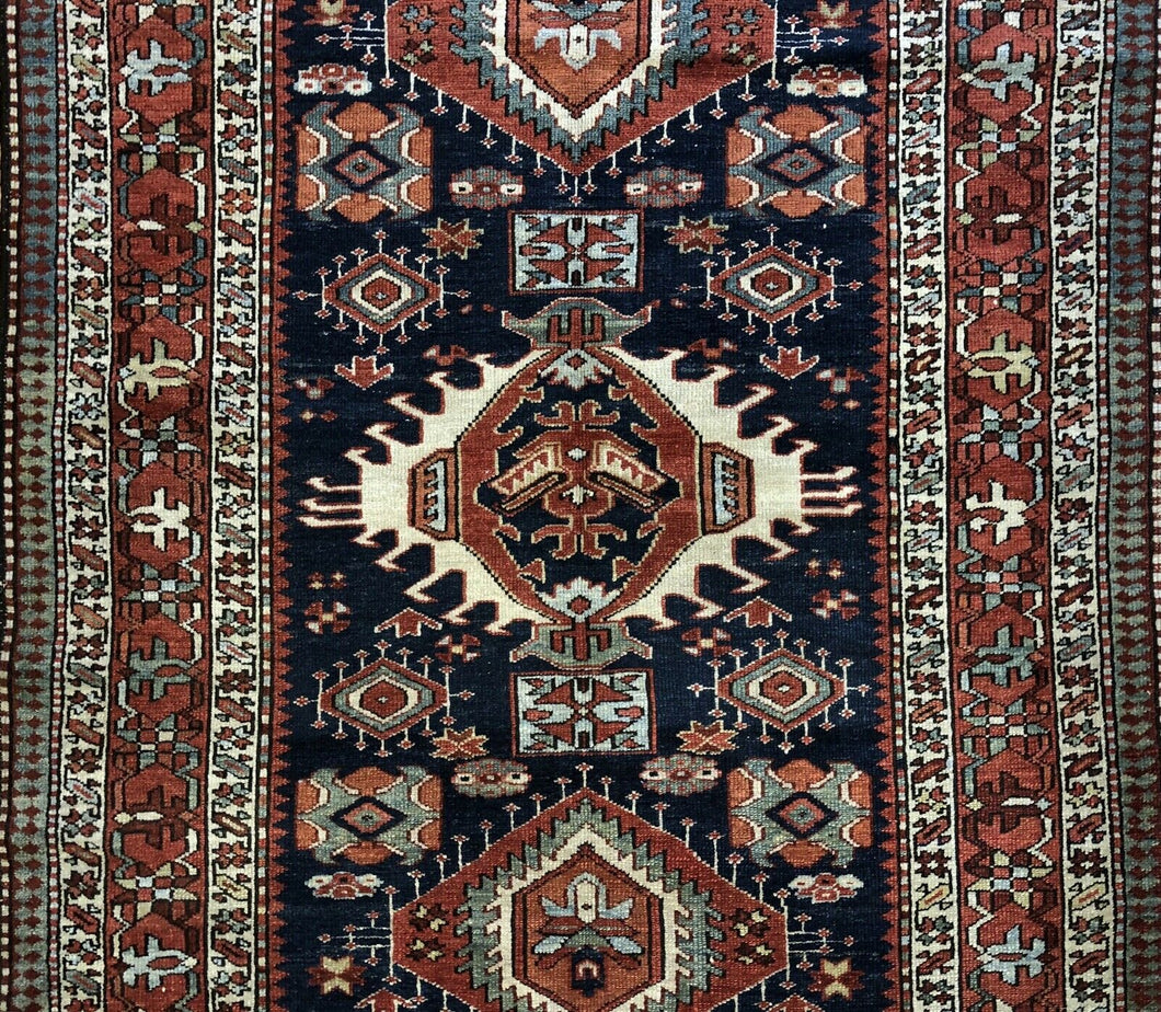 Handsome Heriz - 1900s Antique Persian Rug - Tribal Carpet - 4'5