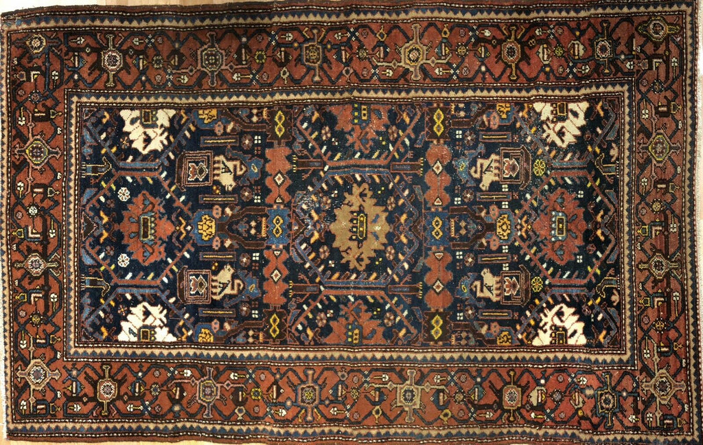 "Marvelous Malayer - 1920s Antique Persian Rug - Tribal Carpet - 4'6"" x 7'1"" ft."