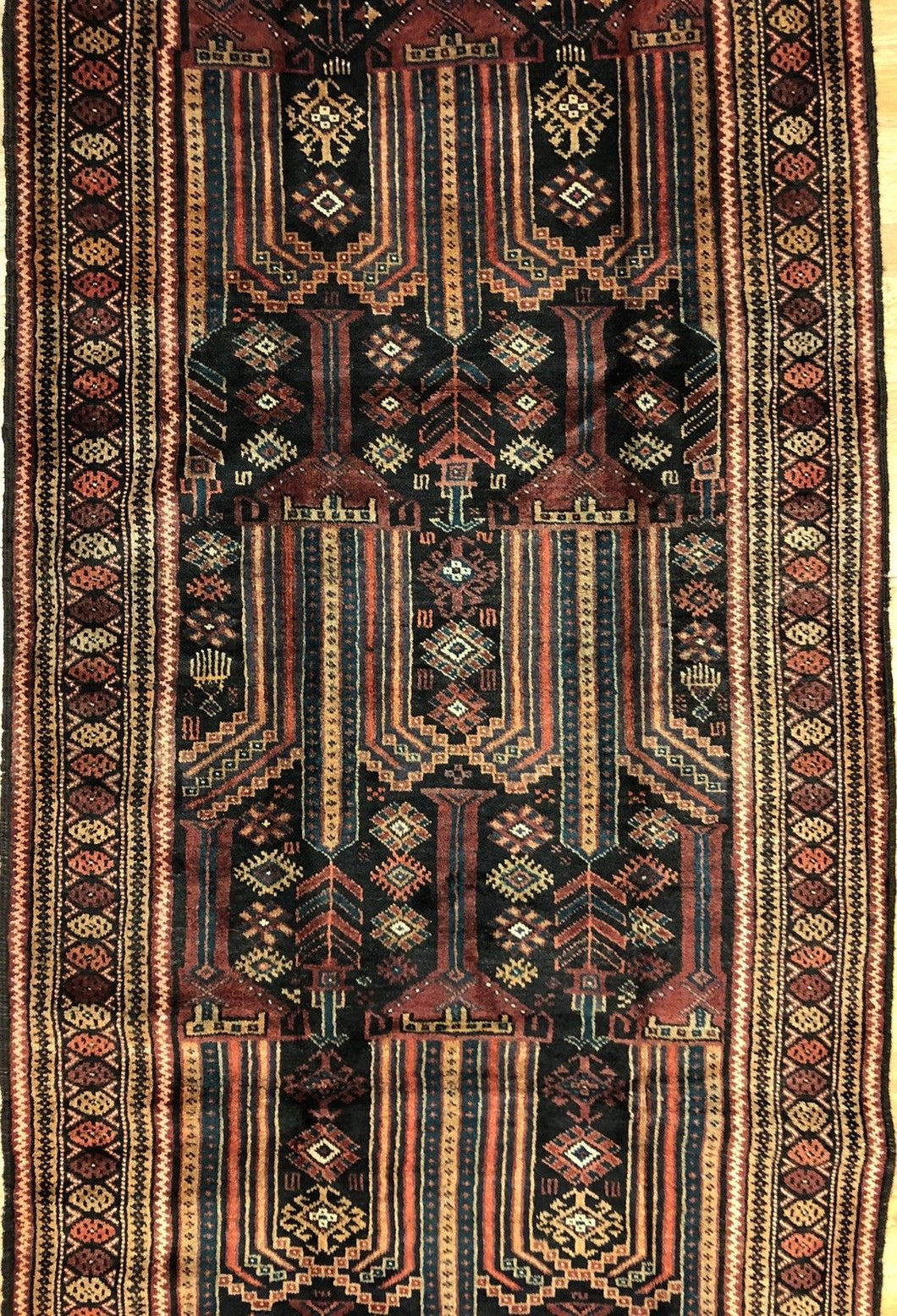 Handsome Hamadan - 1940s Antique Persian Rug - Tribal Runner - 3'8